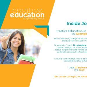 Inside Jobs – Creative Education în parteneriat cu Orange
